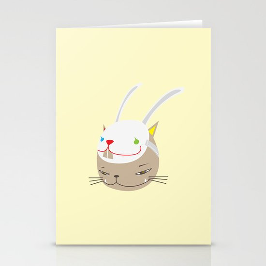 CAT WITH RABBITZ MASK Stationery Cards