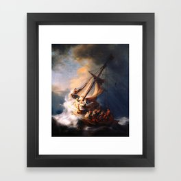 The Storm On The Sea Of Galilee Painting By Rembrandt Framed Art Print