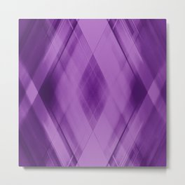 Wicker triangular strokes of intersecting sharp lines with amethyst triangles and stripes. Metal Print