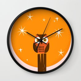 Owl on a Fence Wall Clock