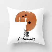 the big lebowski Throw Pillows featuring The Big Lebowski by Green Tusk