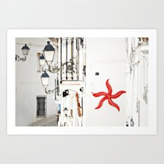white&red mediterráneo Art Print