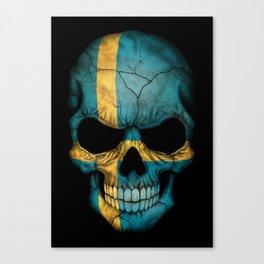 Dark Skull with Flag of Sweden Canvas Print