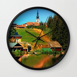 A village in the mirror Wall Clock
