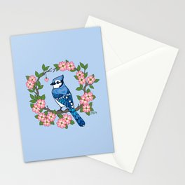 Chevron Hearts Blue Jay Stationery Cards