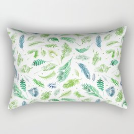 Tropical and beach palm leaves collection. Botany palm leaves set and summer jungle watercolor palm. Rectangular Pillow