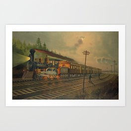 Night Scene on the NY Central Railroad (Currier & Ives) Art Print