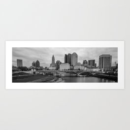 Columbus Ohio Skyline Riverfront Panorama - Black and White Art Print