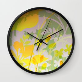 Woodland Awakening - yellows Wall Clock