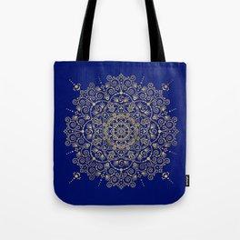 Moroccan Mandala – Gold Ink on Navy Tote Bag