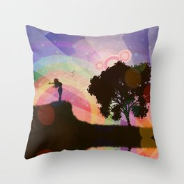 Freedom and rainbow Throw Pillow