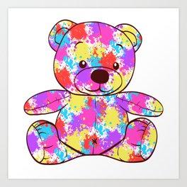 "Colorful Rainbow Flag Gay Pride T-shirt Design ""Teddy Beat"" Rainbow Flag Animals Animal Pet Colors Art Print"