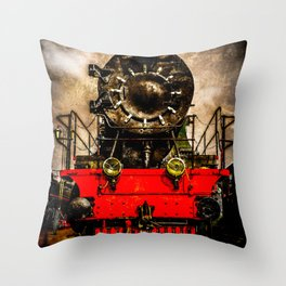 Vintage Steam Engine Locomotive - Back From The Farness Throw Pillow