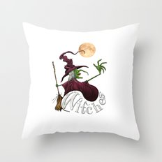 Black and White Witch Throw Pillow