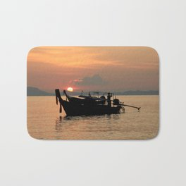 Long-tail boat at sunset in Thailand Bath Mat