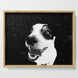 jack russell terrier dog space crazy va bw Serving Tray