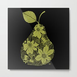Flower Pear Silhouette Metal Print