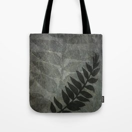 Pantone Pewter Gray Abstract Grunge with Fern Leaf - Foliage Silhouettes Tote Bag