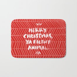 Merry Christmas, Ya Filthy Animal – Red Bath Mat