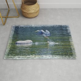 Heron's Leap - Great Blue Heron Rug