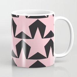 BIG pink star pattern in on black Coffee Mug