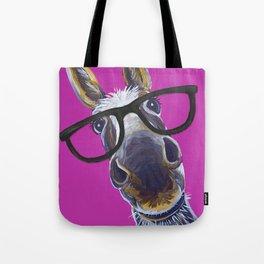 Up Close Donkey Art, Donkey with Glasses Art Tote Bag