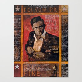 Red Johnny Cash Canvas Print