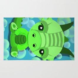 Chibi Bubble Dragon (Blue) Rug