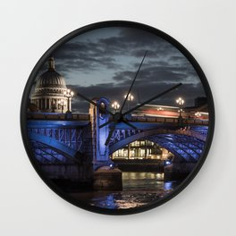 St Paul's Cathedral & Southwark Bridge At Night Wall Clock