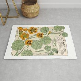 Maurice Verneuil - Capucine - botanical poster Rug