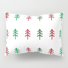 Hand drawn forest green and red trees for Christmas time Pillow Sham