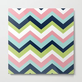 Chevron Pattern Navy Pink Aqua Lime Metal Print