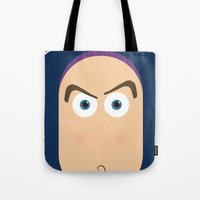 buzz lightyear Tote Bags featuring PIXAR CHARACTER POSTER - Buzz Lightyear - Toy Story by Marco Calignano