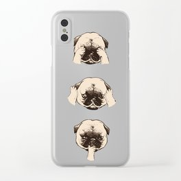 No Evil Pug Clear iPhone Case