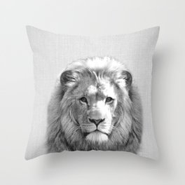 Lion - Black & White Throw Pillow