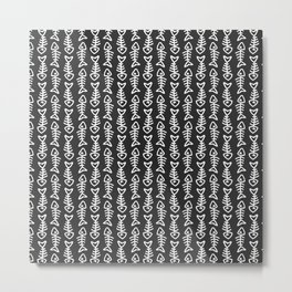 Doodle Fishbone Pattern in Black and White Metal Print