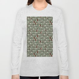 Geometrical green white red abstract stripes squares pattern Long Sleeve T-shirt