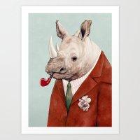 rhino Art Prints featuring Rhino by Animal Crew