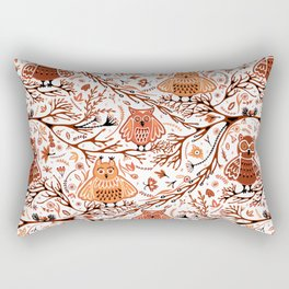 Cute Owls in Fall on Tree Branches Rectangular Pillow