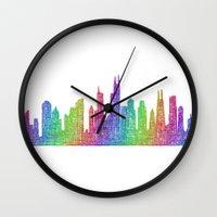chicago bulls Wall Clocks featuring Chicago by David Zydd
