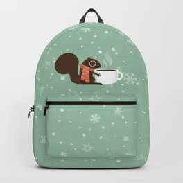 Cute Squirrel Coffee Lover Winter Holiday Backpack