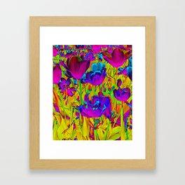 Neon Tulips Framed Art Print