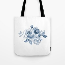 Blue and White Rose Bouquet Tote Bag
