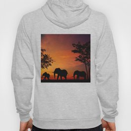 Elephants in the African sunset Hoody