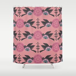 Blackbirds and Pink Blooms Shower Curtain