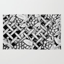 Vineyard Grapes Pen and Ink Illustration Rug