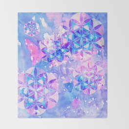 Flower-of-Life Paint Pattern Blue Throw Blanket