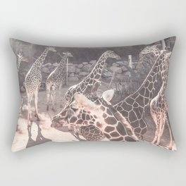 Giraffe Party // Spotted Long Neck Graceful Creatures in Wildlife Preserve Rectangular Pillow