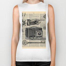 nautical compass dictionary print steampunk skeleton keys antique camera Biker Tank