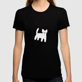Black and white hand drawn cat T-shirt